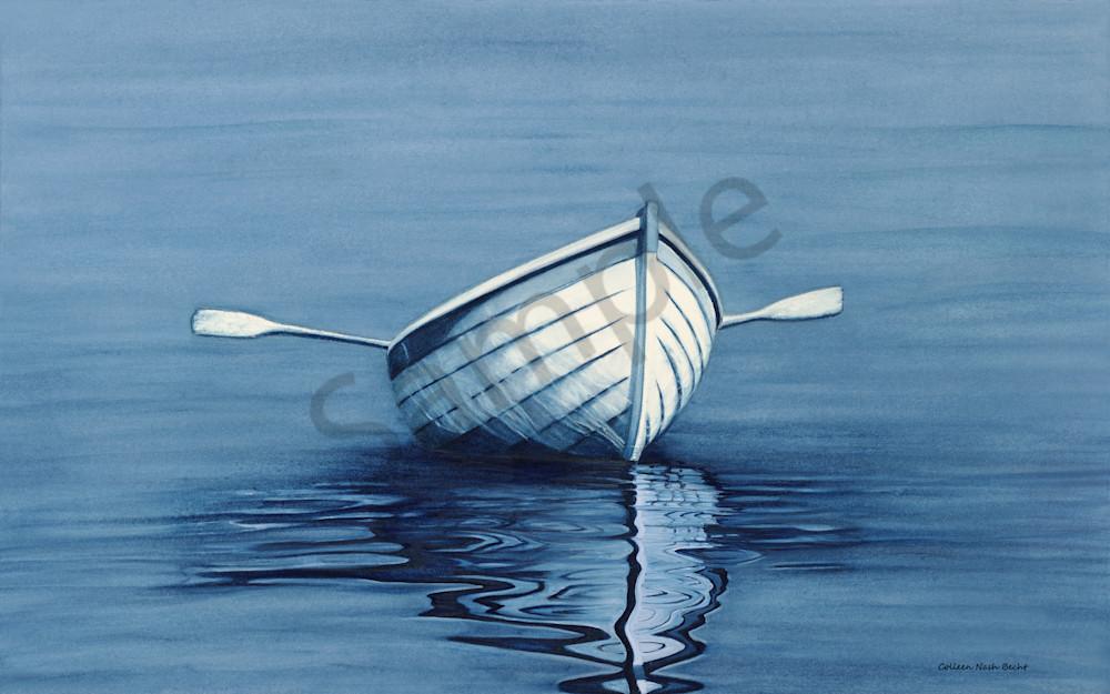 Navy Blue Boat Reflection