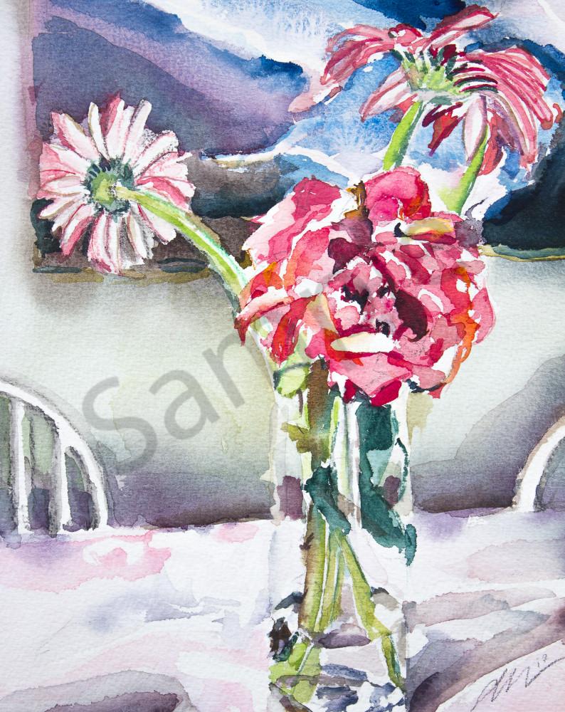 Rose and Gerbers Fine Art Print