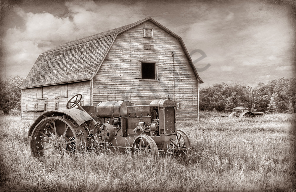 Old Tractor with Barn