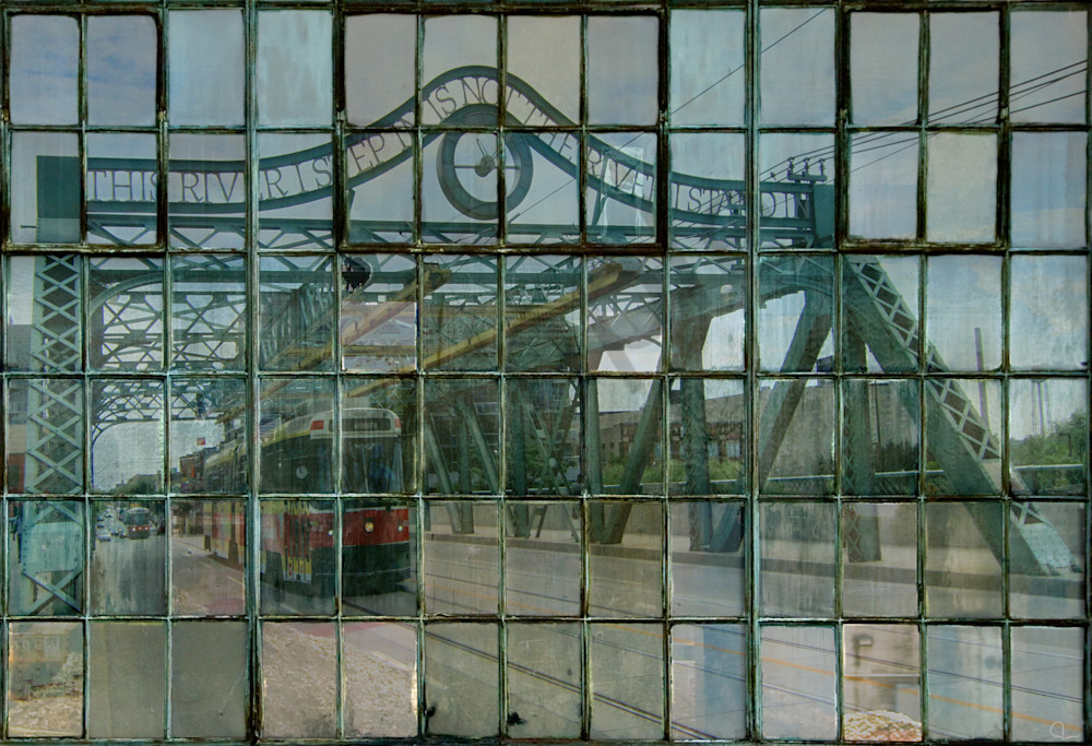 A layered fine art photograph  print for sale of a Toronto Streetcar as seen through industrial window panes by Michael Toole.