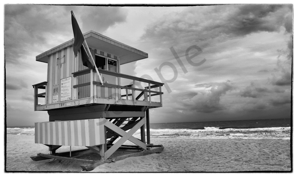 South beach miami black and white lifeguard station fine art photography prints for sale