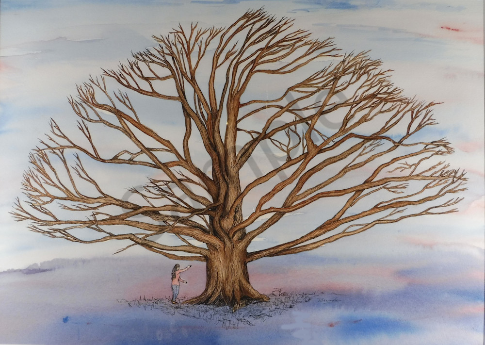 """Nature Painting Tree Colour Branch Bright Wall Art Panel Poster Print 47X33/"""""""