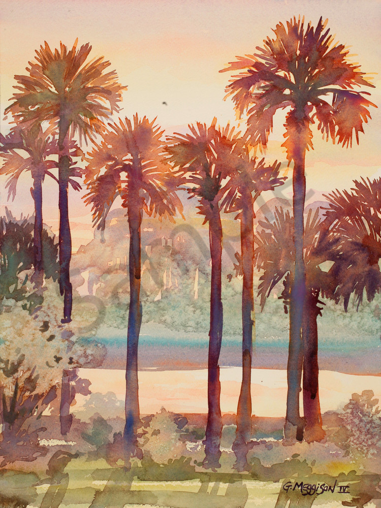 Intracoastal Palms 2 | Watercolor Landscapes | Gordon Meggison IV