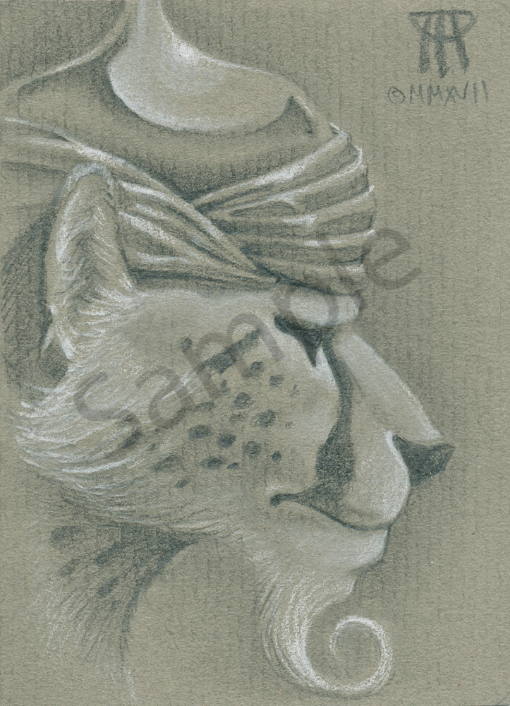 Small portrait of the cheetah from the Cat Warriors magic card drawn by Melissa A Benson