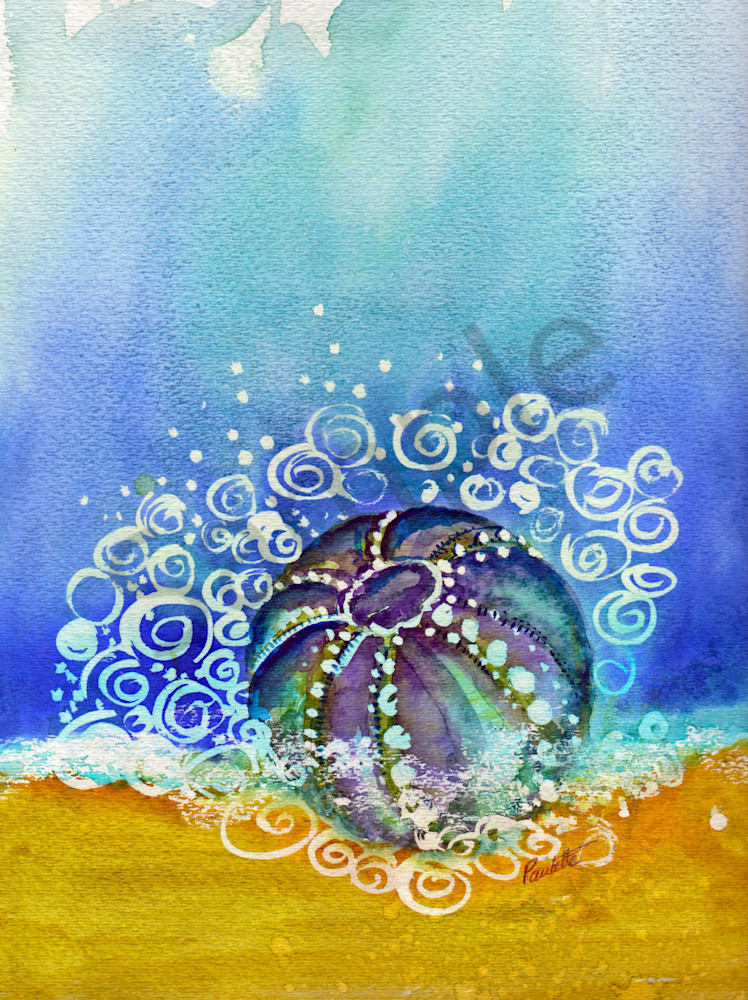 Bouncing fun watercolor urchin for sale at boudreau-art.com