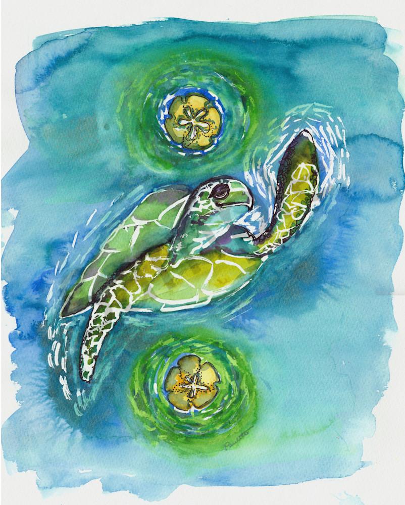 Fun tropical Turtle Hi Five watercolor for sale at boudreau-art.com