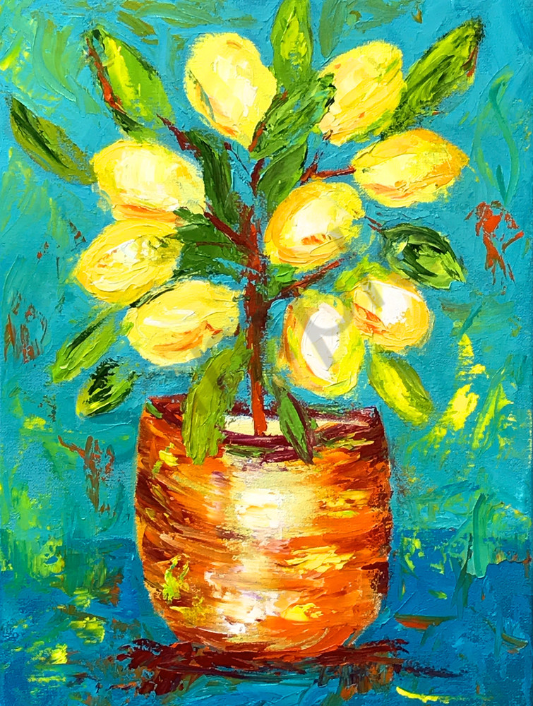 Lemon Tree painting by Claudia True in 2018 Cooking with Friends calendar