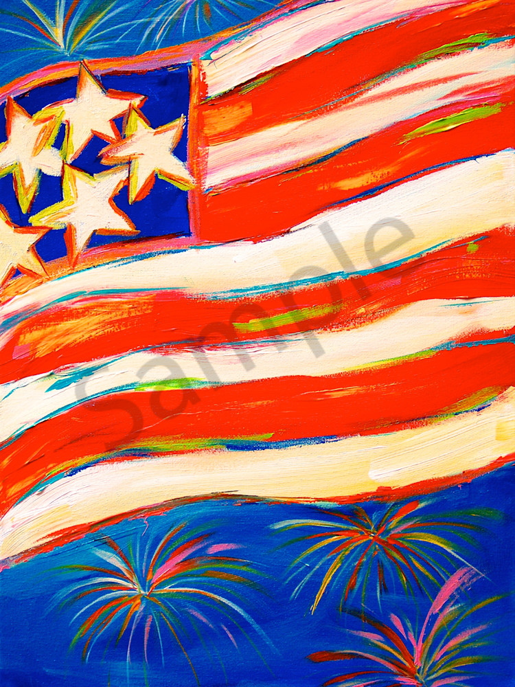 Print of American Flag on the 4th of July - original acrylic painting by Claudia True