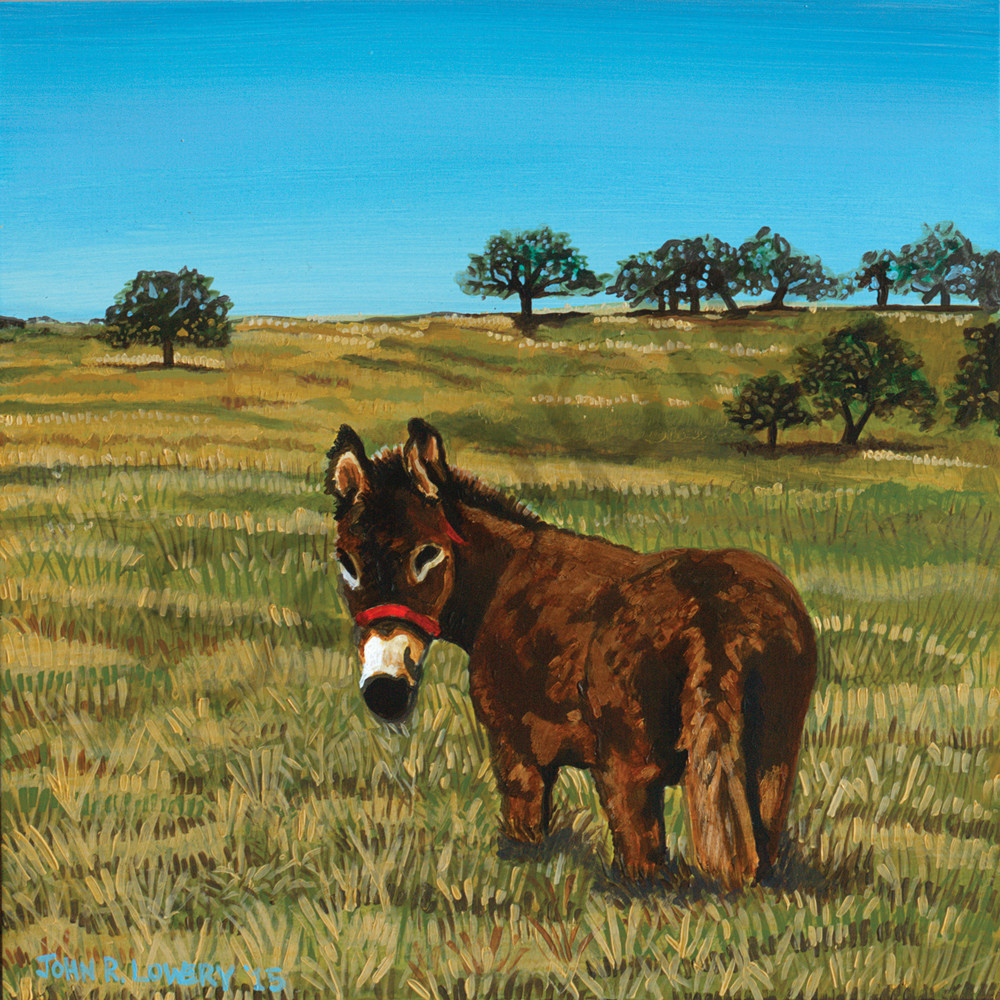 Original Texas landscape paintings featuring donkeys,  by John R Lowery sold as art prints.