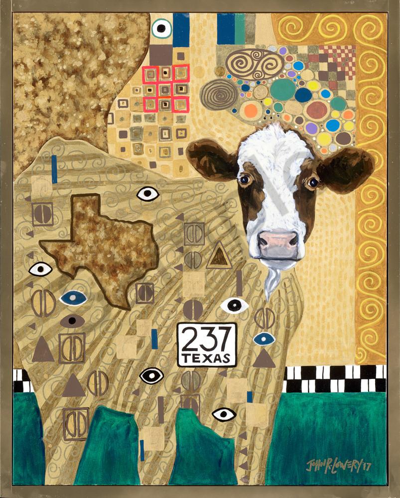 Unusual cow painting inspired by Gustav Klimt, sold as art prints.