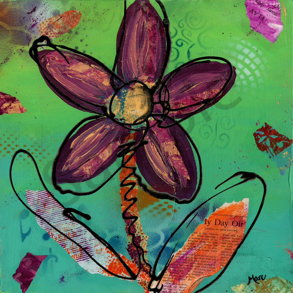Mixed-media Playful Daisy Flower original painting