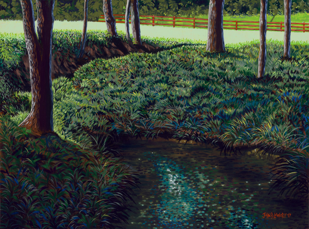 Original painting of a Texas creek bed near Dallas for sale as art prints.