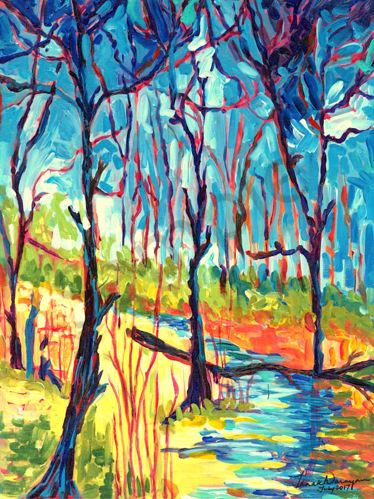 Turquoise Stream Art | Janak Narayan Fine Art