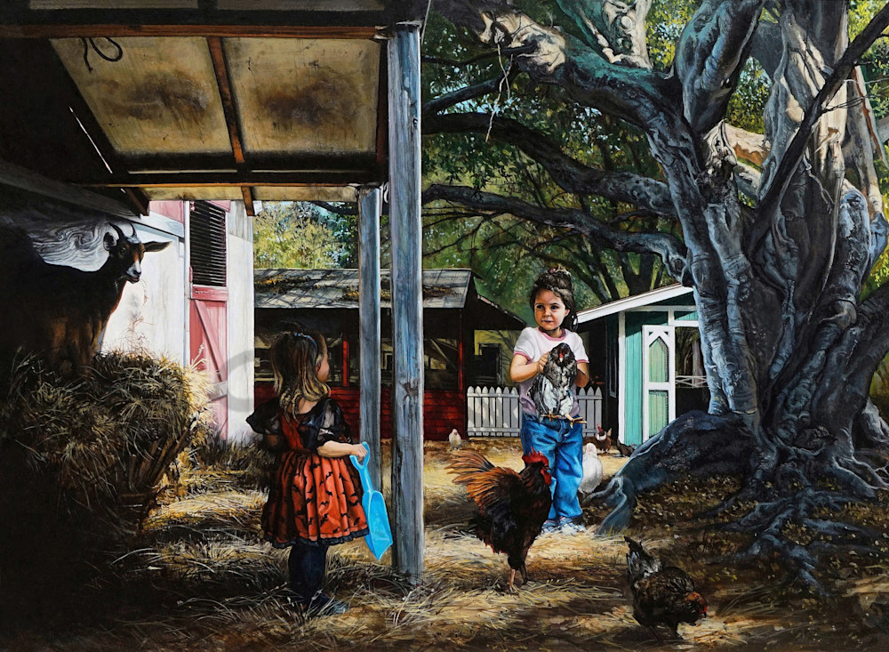 Mischievous kids on a farm print | Kevin Grass Fine Art