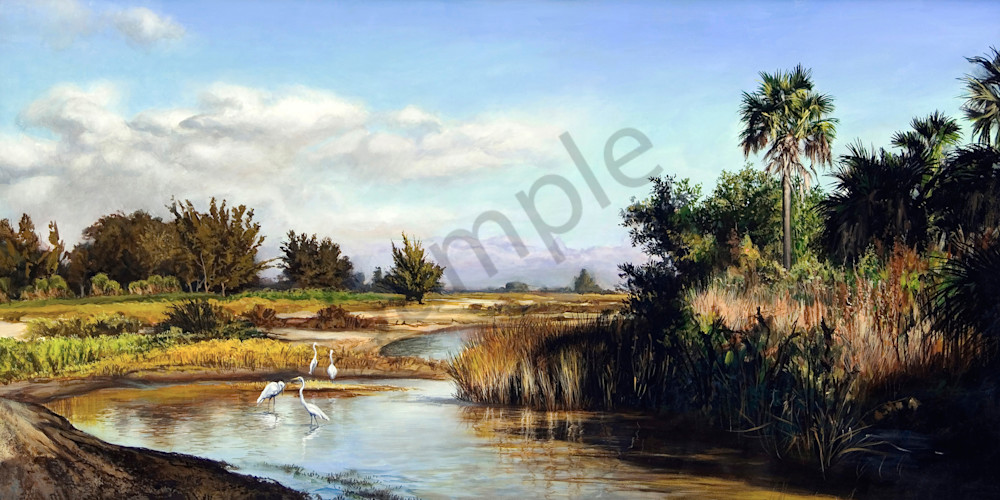 Pool with Egrets landscape print | Kevin Grass Fine Art