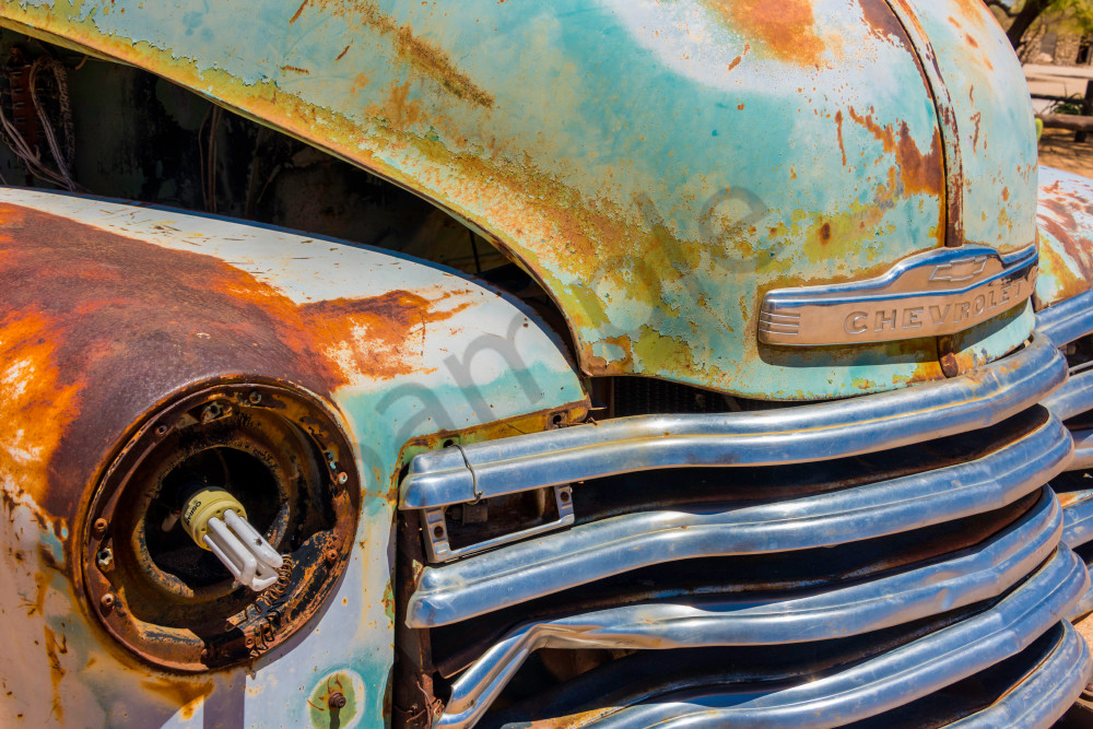 Close-up photograph art of old Chevrolet front grille with modern ...