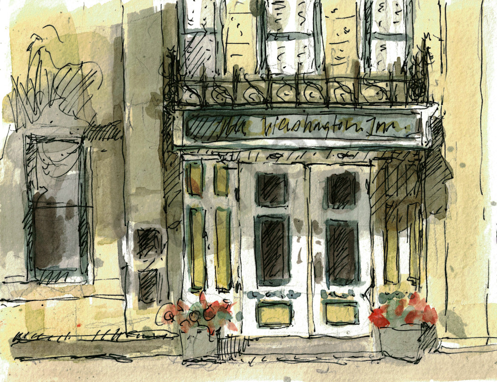 Washington House Inn Sketch Art | Geoffrey Butz Art & Design Inc