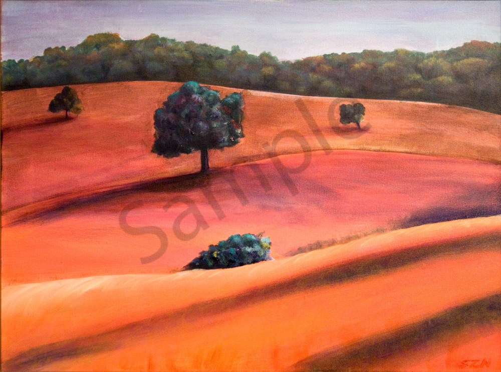 Acrylic painting of Golden Hills painted in peach tones. Art by Susan Kraft