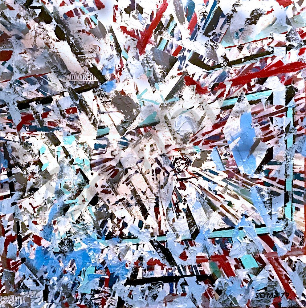 Center of the Earth - Original Abstract Pop Art Collage Painting by Soma79