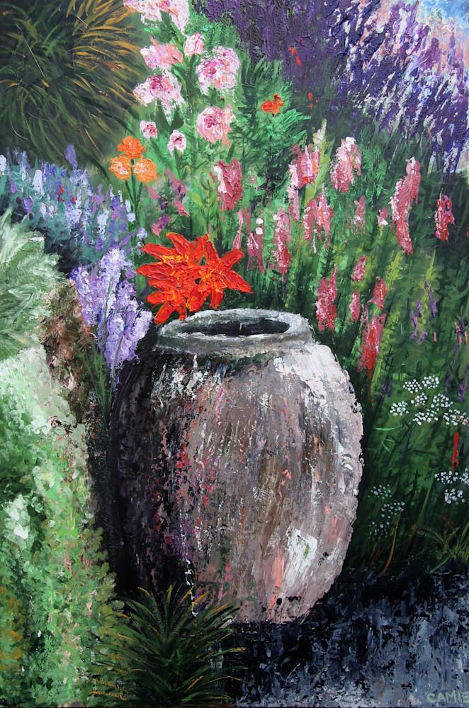 garden, wall, pot, flowers, plants