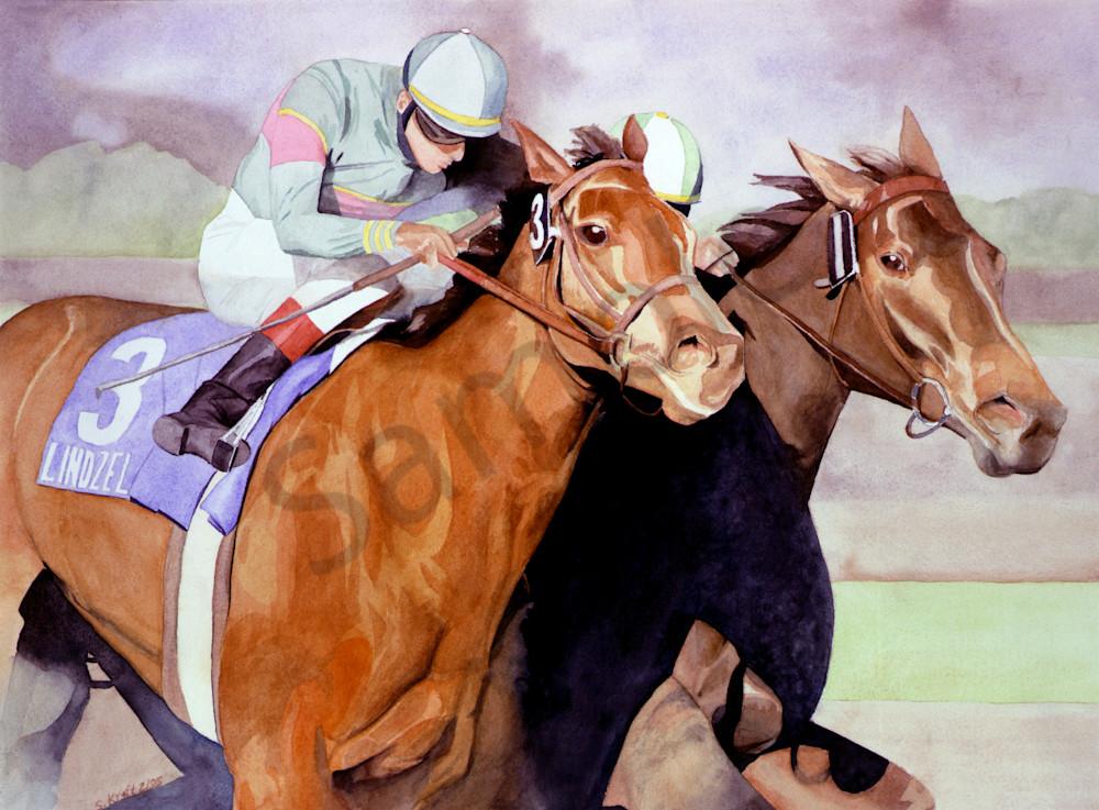 horse painting, watercolor,  Secretariat by Susan Kraft on Zippity Art