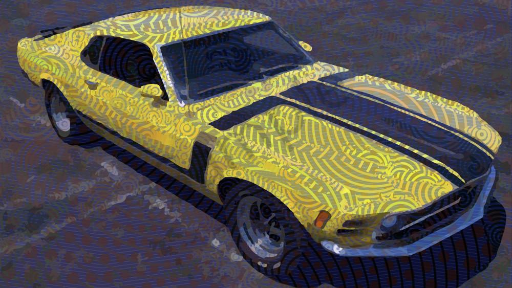 1970 Ford Mustang Boss 302 algorithmic wall art, photographs by algorithmic artist Peter McClard at brilliancegallery.com