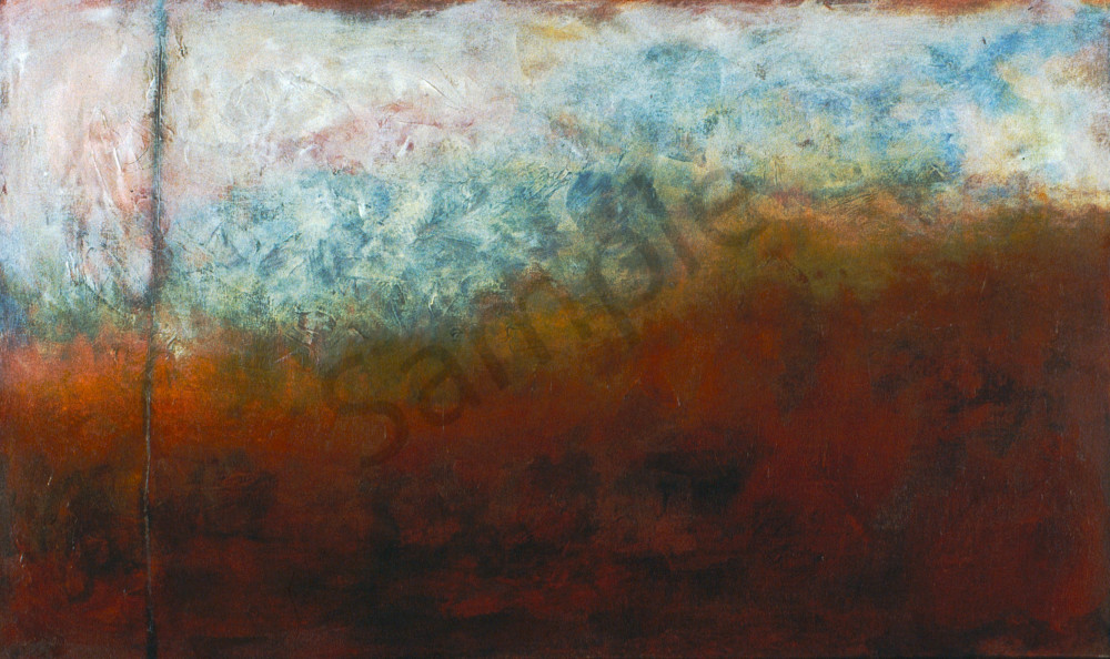 Blue Haze is an acrylic painting in blue, rust, and earth-tones. Art by Susan Kraft