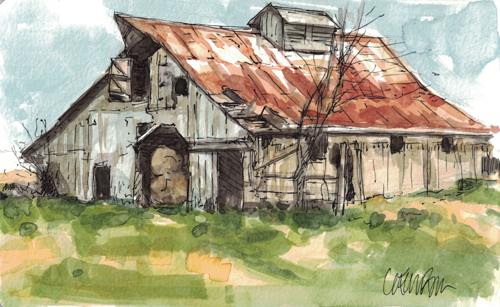 Hay Barn Sketch Art | Geoffrey Butz Art & Design Inc