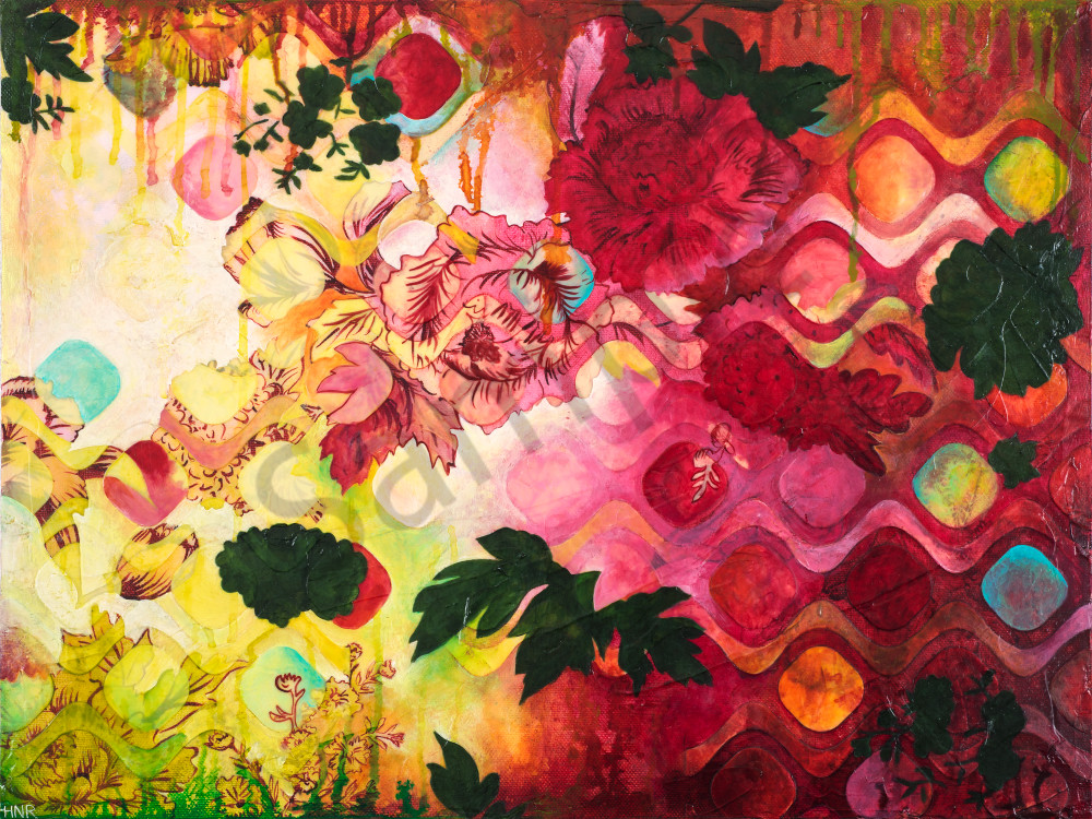 Ogee Rose Garden, a fine art print by Heather Robinson