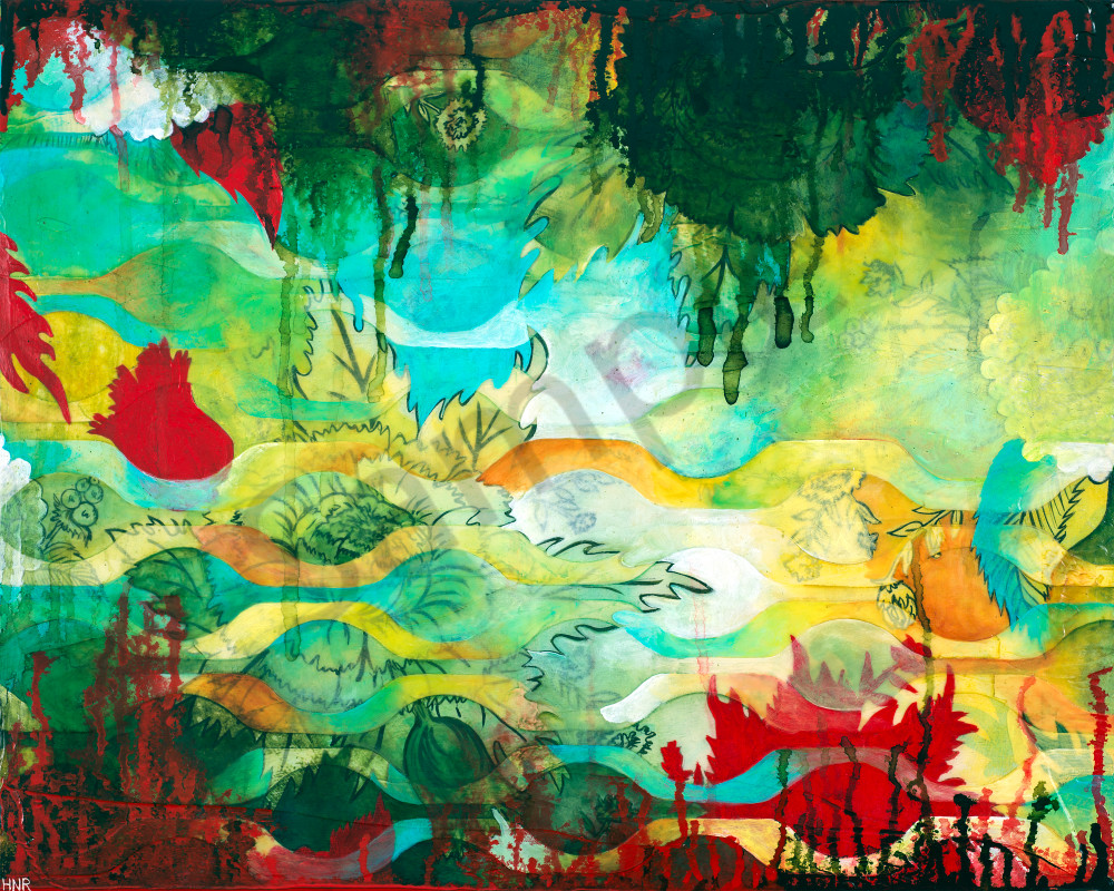 Waves Summer Forest, a fine art print by Heather Robinson
