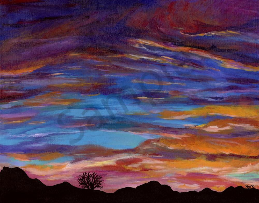 Original Acrylic Painting of Arizona Sunset by artist Mary Anne Hjelmfelt