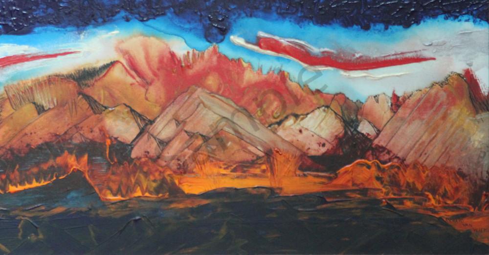 A desert mountain landscape art piece