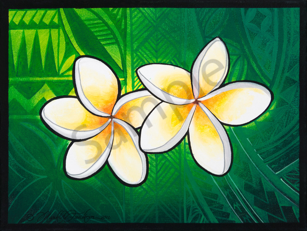 Polynesian Art Plumeria Twins By Mark Faulkner