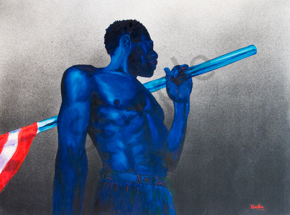 Blue Man With Flag Art | The Soap Gallery