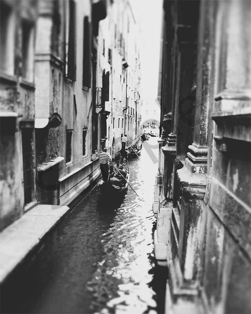 Venice canal photograph in black and white by Ivy Ho for sale as fine art.