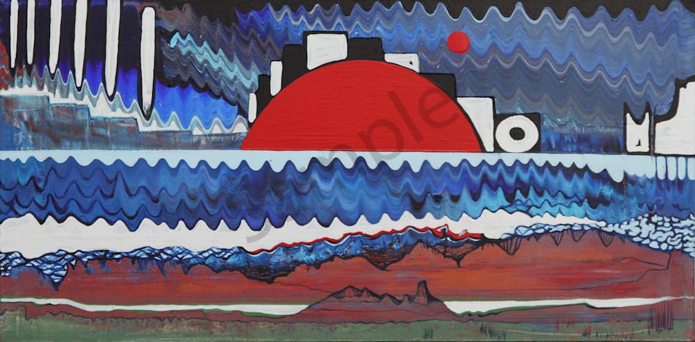 Rising Sun Abstract Landscape Minimalist art.