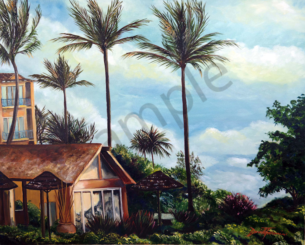 """""""Hawaiian Outrigger Hotel Print-Fine Art Prints on Canvas, Paper, Metal & More by Daniella Toscanini""""."""