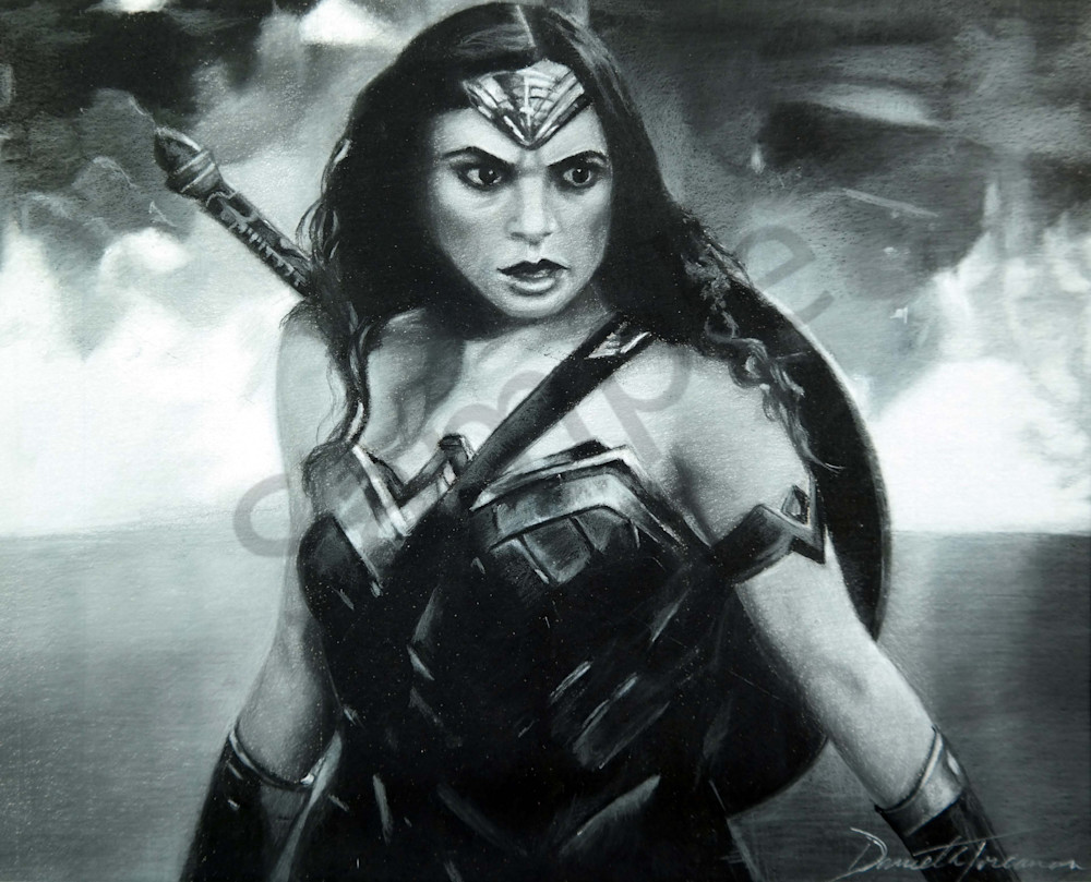 """""""Black and White Print of Wonder Woman – Original Paintings – Fine Art Prints on Canvas, Paper, Metal & More by Daniella Toscanini""""."""""""