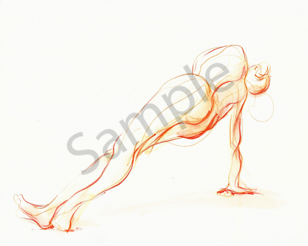 Side Plank Yoga Pose Drawing in Orange