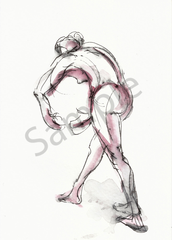 C-Curve Ink and Watercolor Dancer Drawing