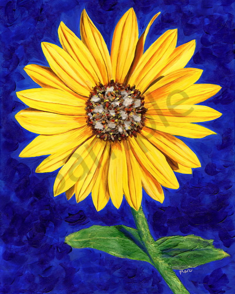 A strong yet delicate bright yellow sassy sunflower stands against a vibrant blue background. Original mixed-media painting by Mary Anne Hjelmfelt.