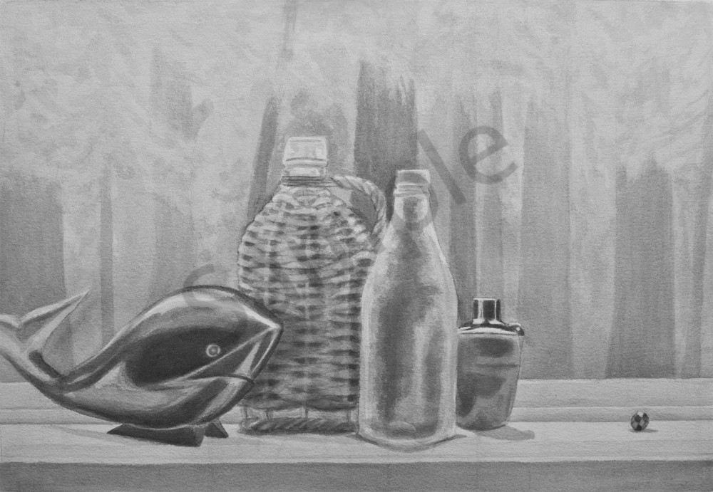 Basketbottle And Baleen Whale Painting Claire K Stringer Artist