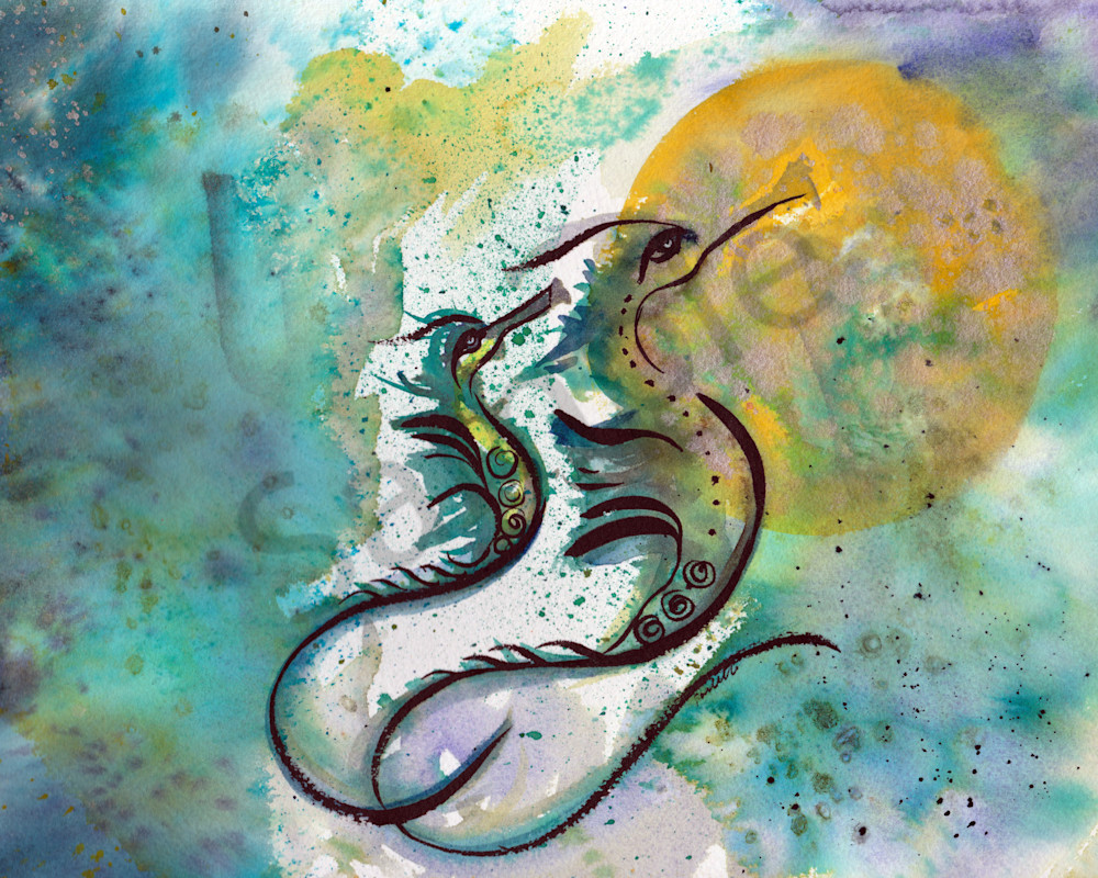Calligraphic style watercolor of 2 seahorse at boudreau-art.com