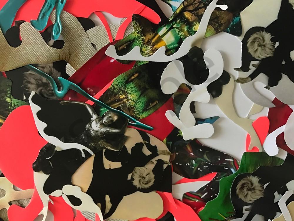 Odeta Xheka Visuals   Unique abstract art collage print on canvas