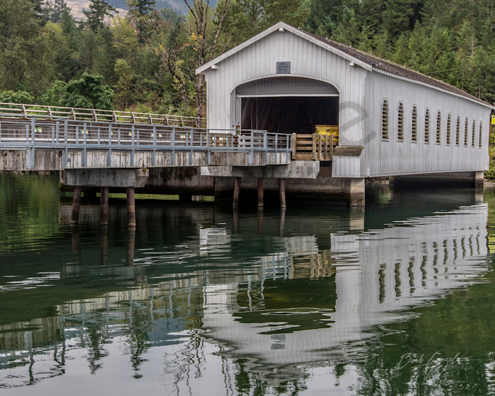 Lowell covered bridge reflection photo for sale | Barb Gonzalez Photography