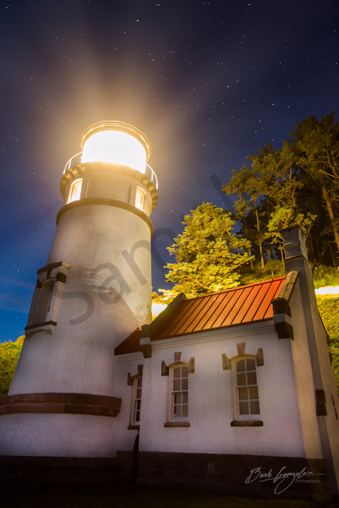 Heceta Head Lighthouse Night Lightbeams Photo for Sale by Barb Gonzalez Photography