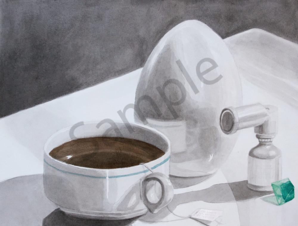 Still Life Painting - Crystal art, tea, egg, inhaler