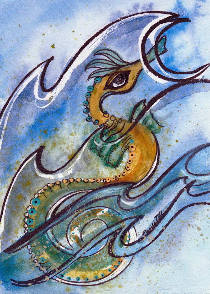 Yellow Seahorse Swimmer 5x7 HR
