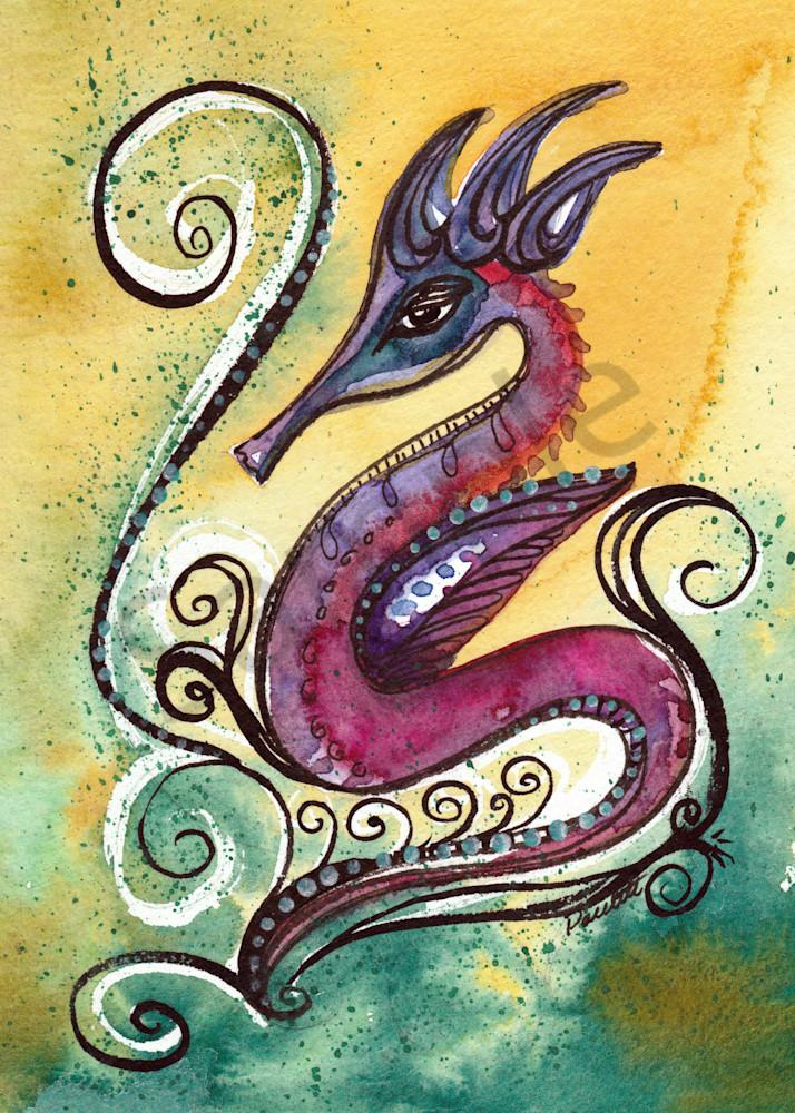 Elegant Magenta Seahorse 5x7 HR