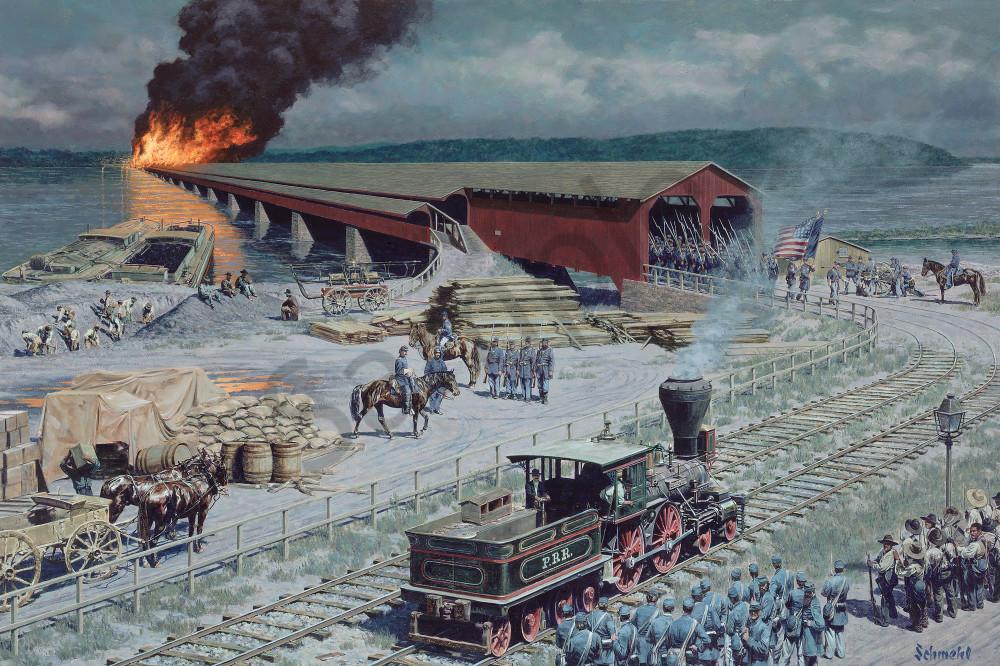 Columbia Bridge Burning Art for Sale